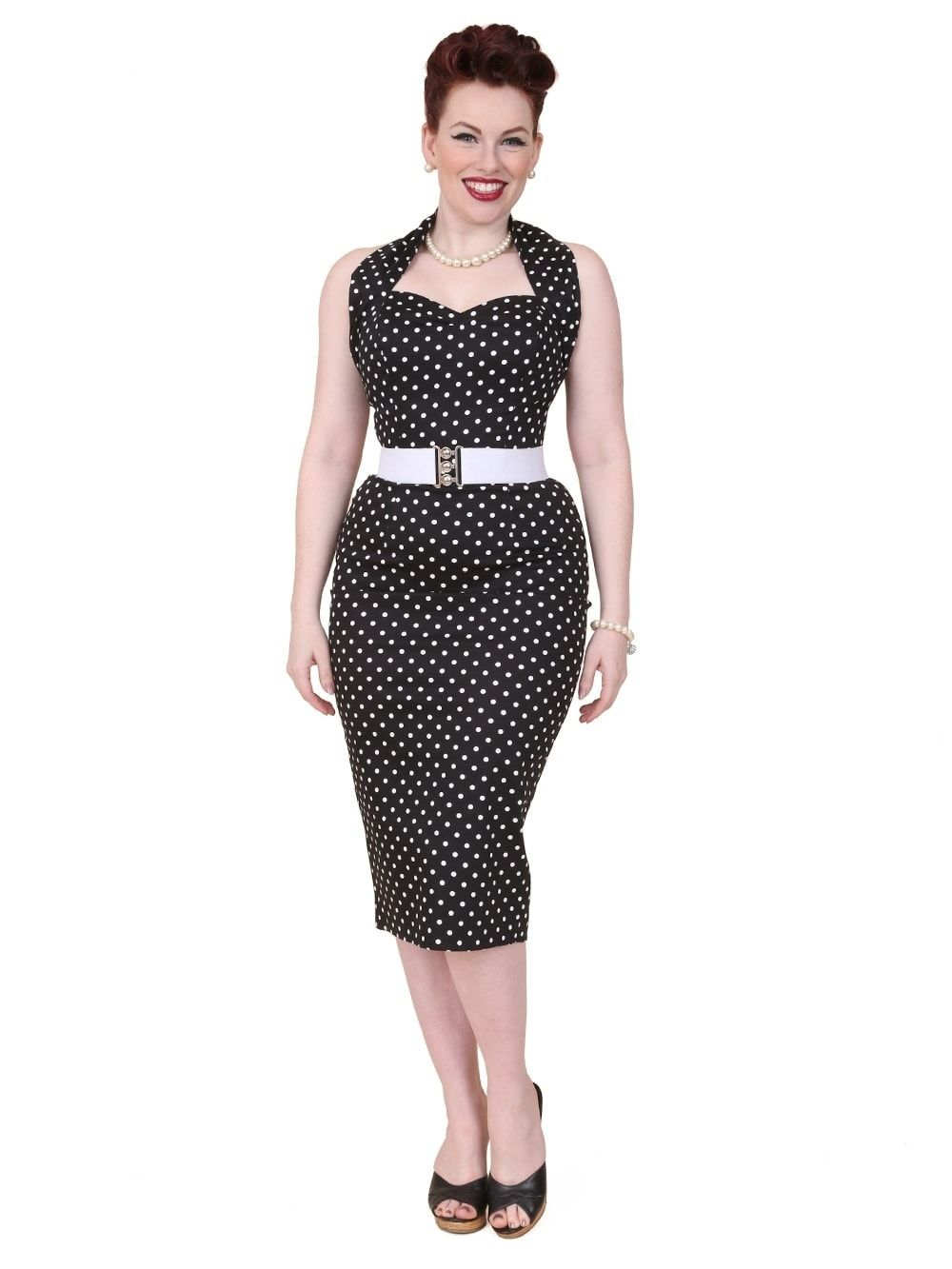 cf7f99a2eff7 50s-1950s-Vivien-of-Holloway-Best-Vintage-Reproduction-Halterneck -Pencil-Wiggle-Dress-Black-White-Spot-Rockabilly-Pinup