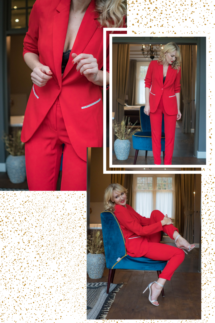 roter hosenanzug von wenz, outfit für weihnachten, festliche