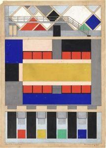 1928 Doesburg Theo Van Color Design For Floor And Two Long Walls Of Cine Dancing In The Aubette Strasbou Architektur Zeichnungen Architektur Skizze Kunst