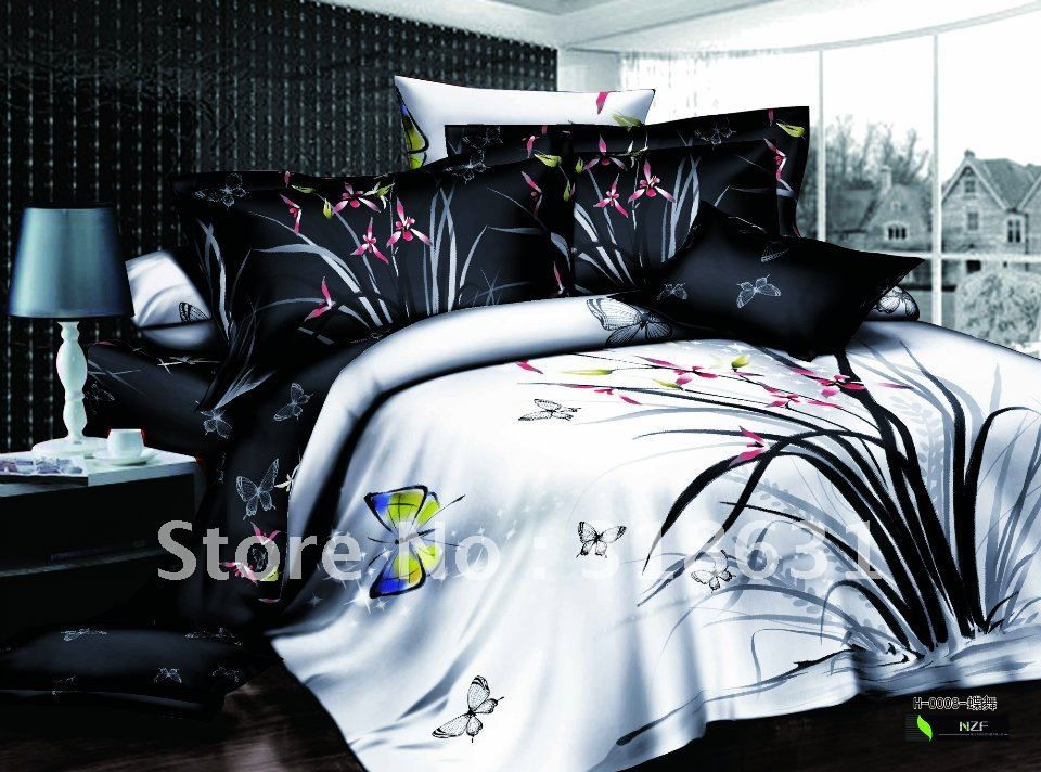500 thread count 100 cotton black white comforter sets 5pcs queen flying butterfly flowers printed