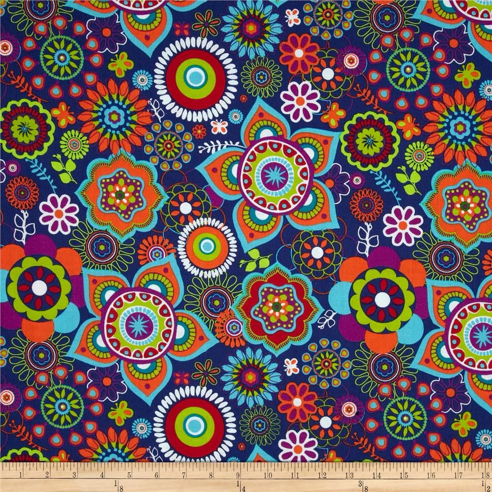 Twilium Large Floral Navy from @fabricdotcom  From Fabric Editions, this cotton print is perfect for quilting, apparel and home décor accents. Colors include navy blue, teal, purple, red, white, green and orange.