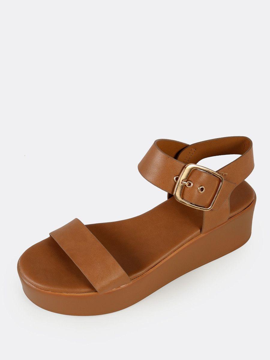 Shop One Strap Platform Sandals TAN