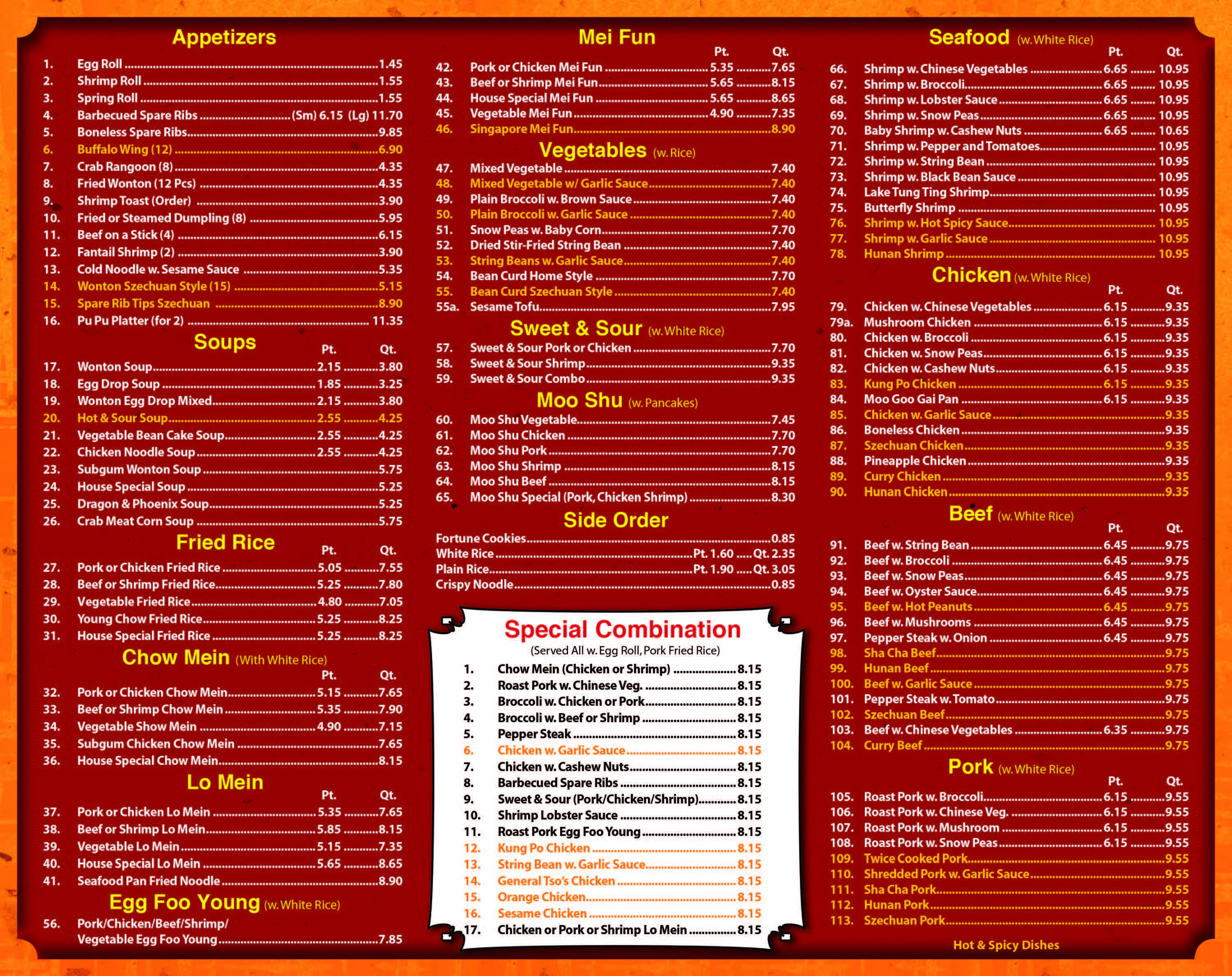 2nd Page Of Chef King Chinese Food Menu See Page 1 For Coupon Chinese Food Menu Shrimp And Vegetables Chinese Restaurant