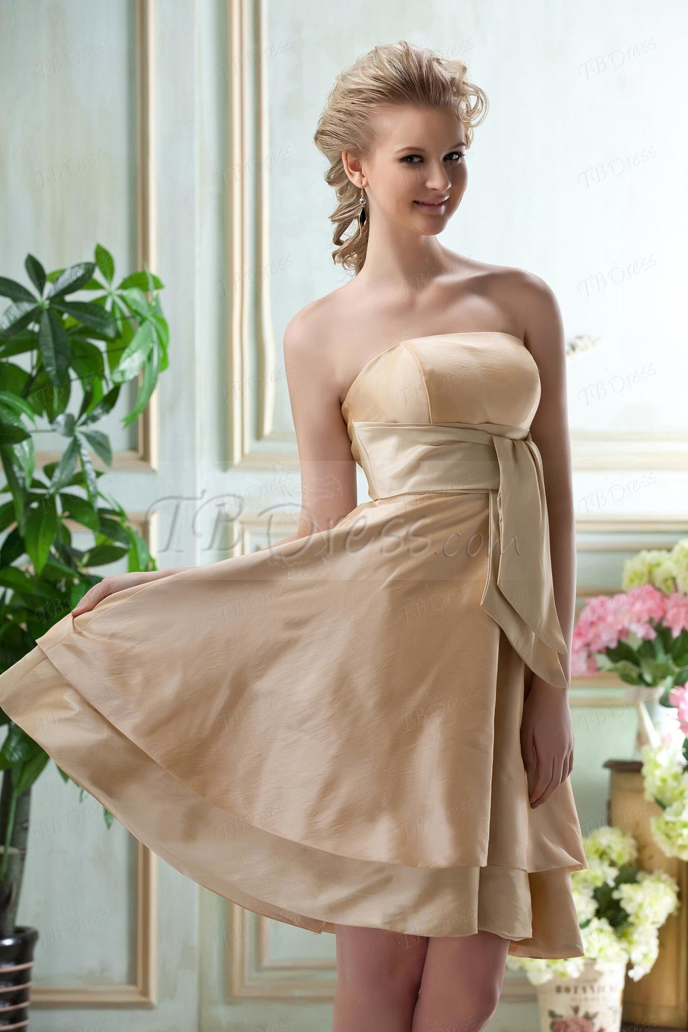 Impressive A-Line Strapless Knee-Length Bridesmaid Dress tbdress.com 75