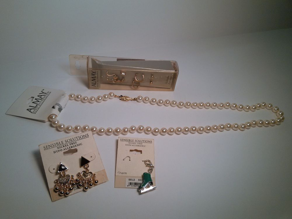 Almay Hypoallergenic Jewelry Lot Earrings & Necklace Charm Sensible Solutions #Almay