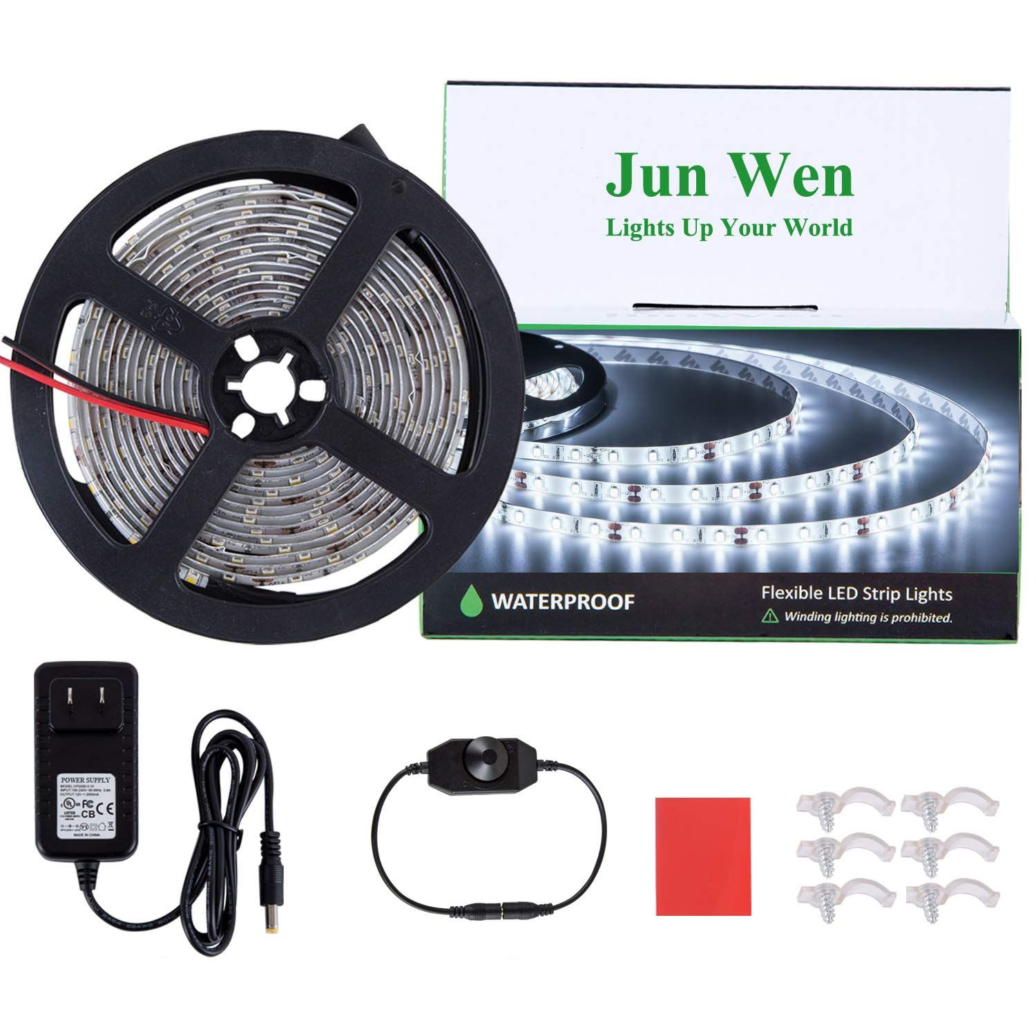 Dimmable Led Strip Lights Kit Daylight White 16 4ft 5m Waterproof Led Tape Ribbon Light Flexible 300 Units Smd Led Strip Lighting Waterproof Led Strip Lighting