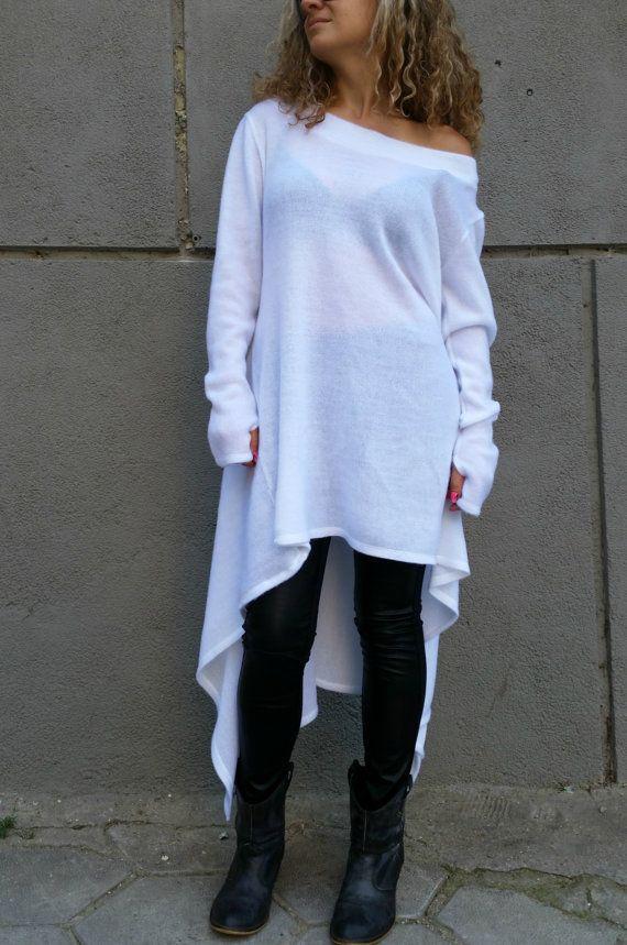 White Asymmetrical Sweater Dress / Oversize Unique Tunic Top ...