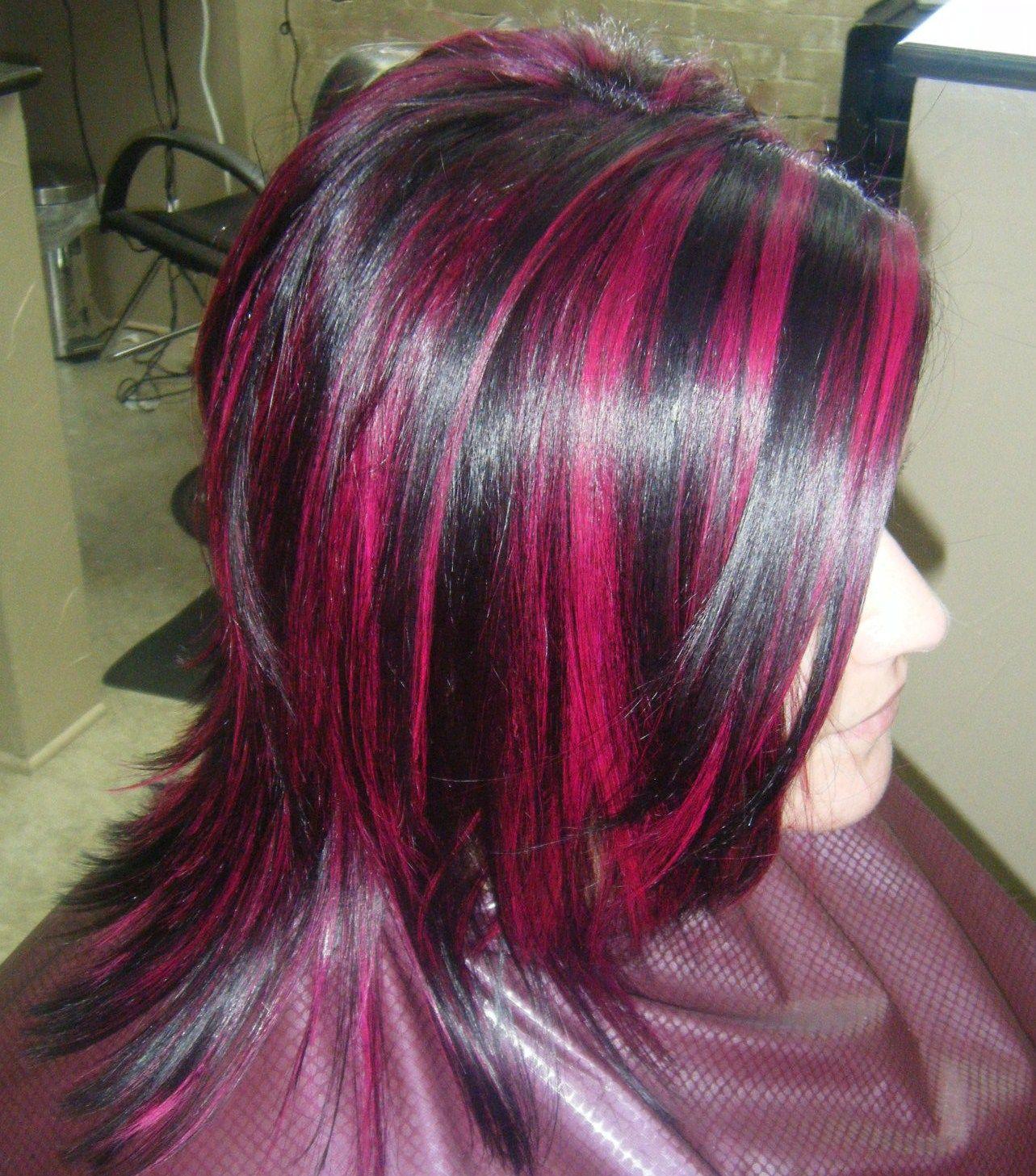 Magenta Highlights Hair Highlights Maroon Hair Bright Pink Hair