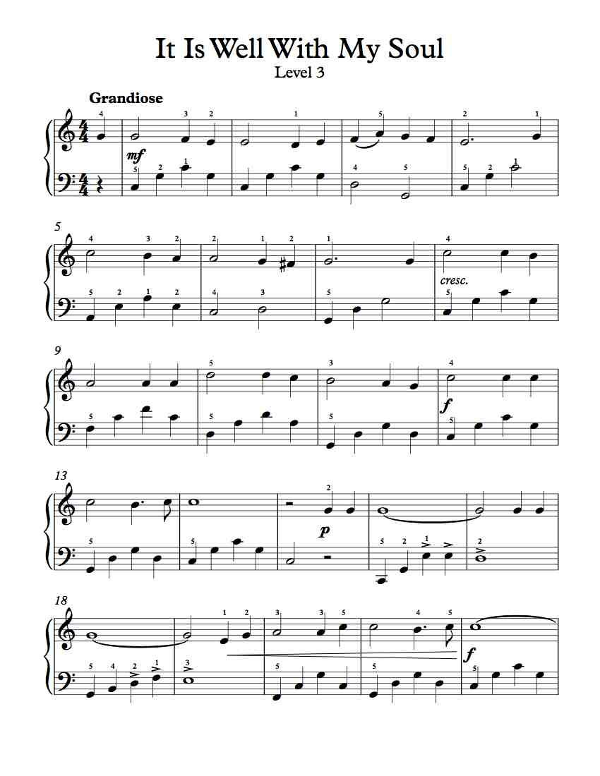 Free Piano Arrangement Sheet Music - It Is Well With My Soul - Level 3