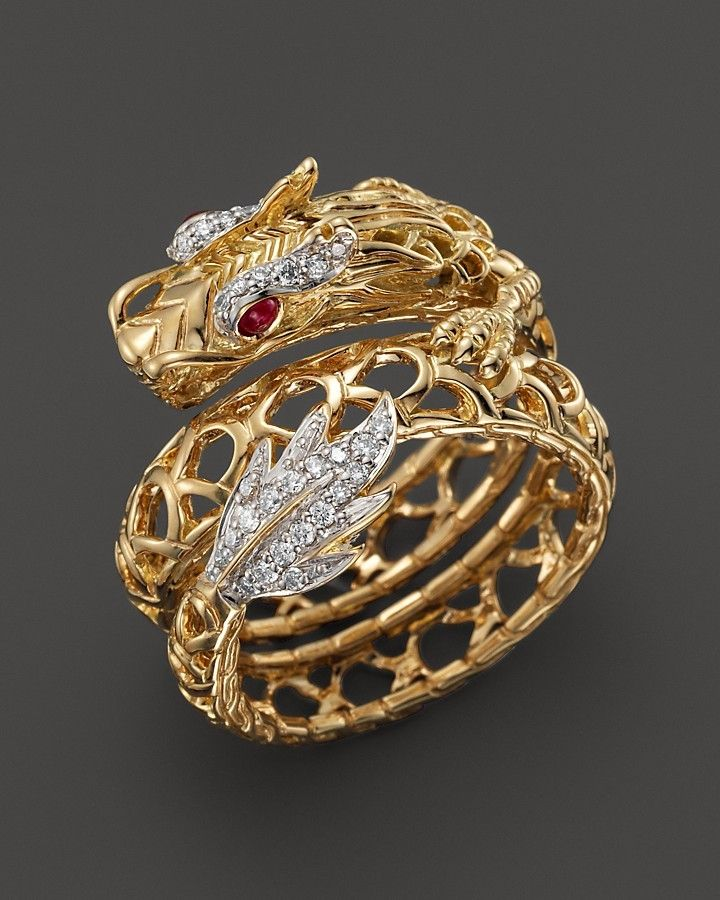 John Hardy Batu Naga 18K Yellow Gold Diamond Pav Dragon Coil Ring