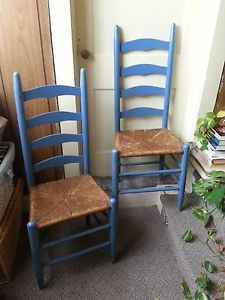 Pair Antique Vintage Ladder Back Chairs W Wicker Caned Seats Painted Blue 85 00