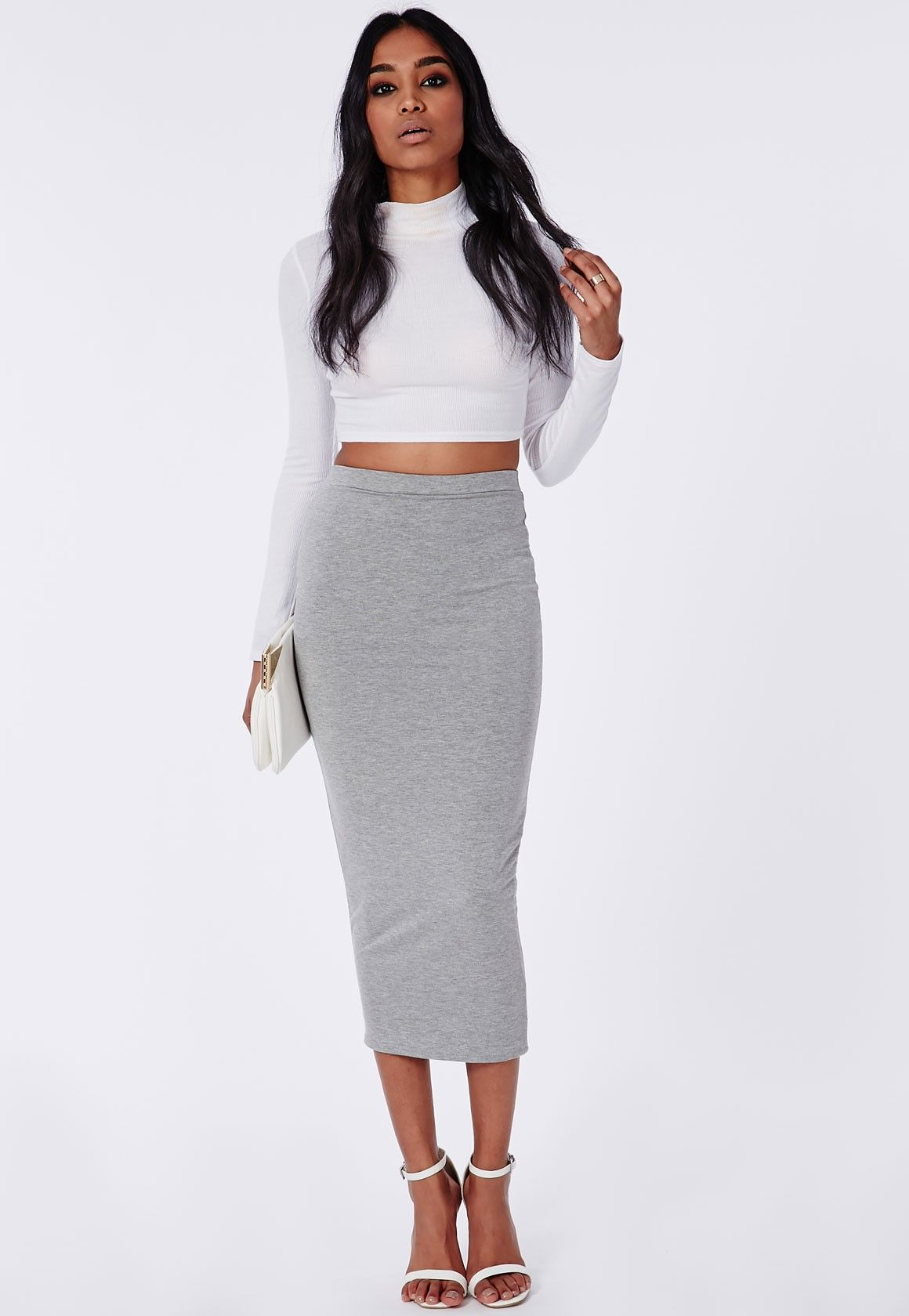 Missguided - Longline Jersey Midi Skirt Grey | Sewing inspirations ...