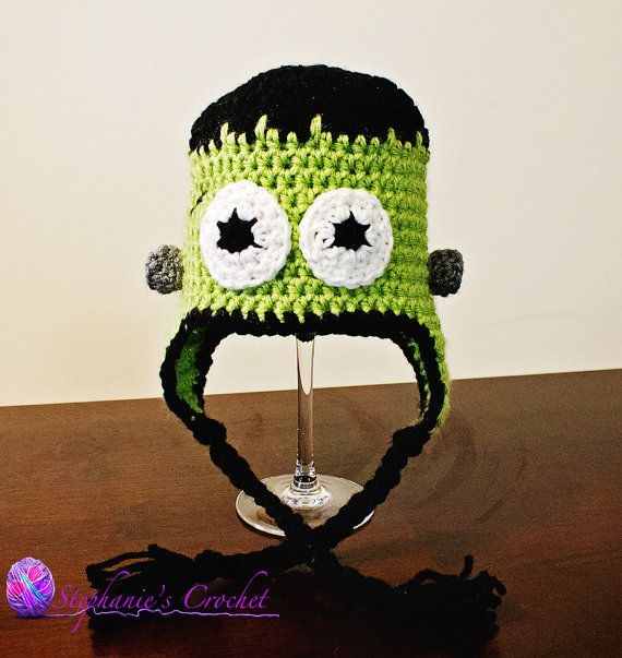 Frankenstein Crochet hat 012 months made to by Stephyscrochet, $18.00