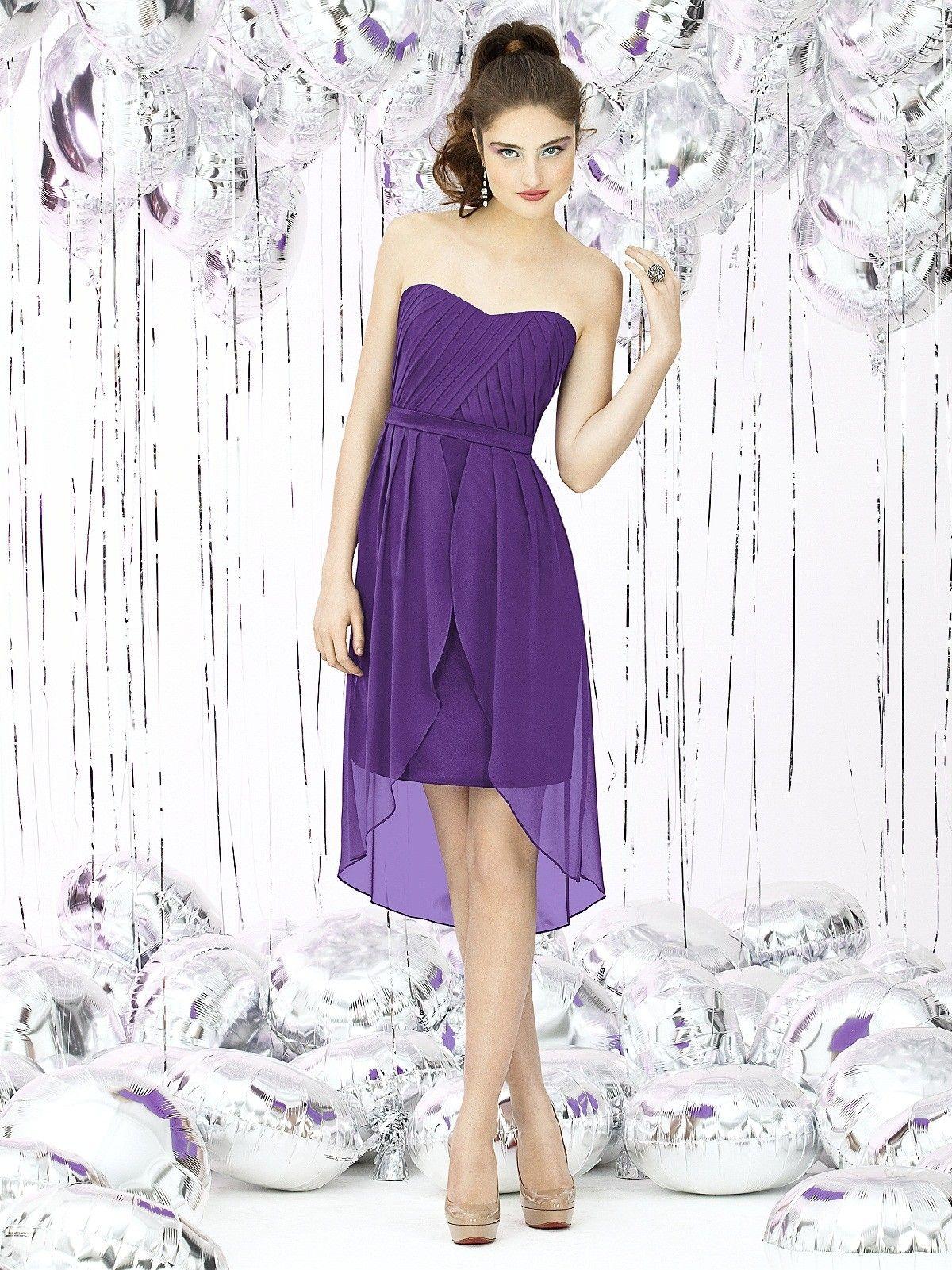 Empire Purple Short-length Sash-Ruched-Ruffles Sweetheart Sleeveless ...