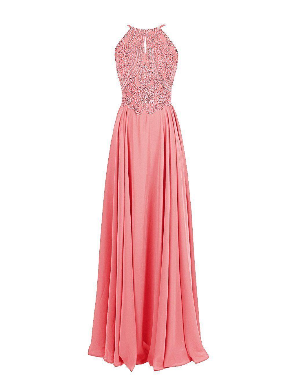 Bessdress long chiffon prom dresses beaded bodice evening dresses