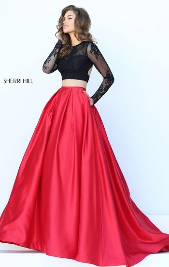 Vestido de graduacion rojo con negro