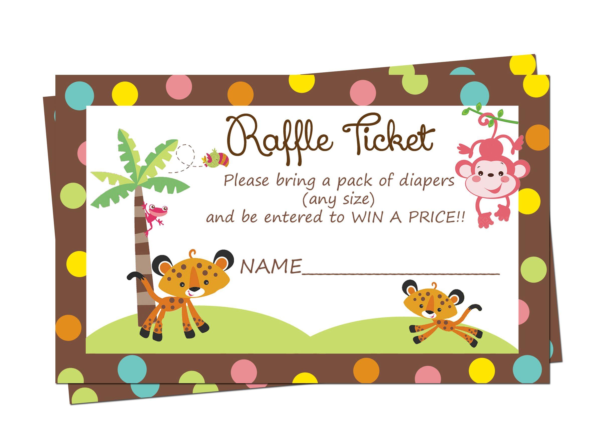 Fisher Price Baby Shower Diaper Raffle Tickets $3.99 | Rainforest ...