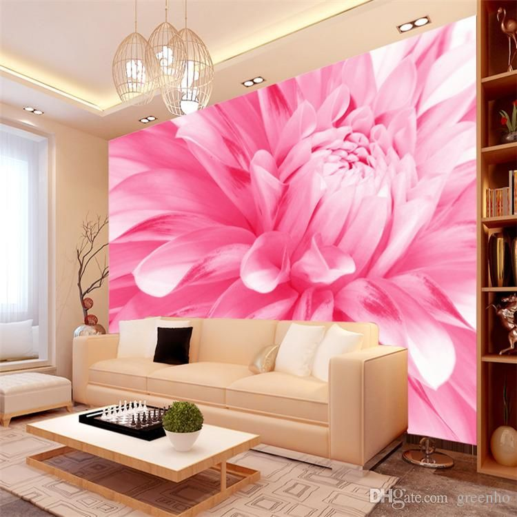 Elegant photo wallpaper roll chrysanthemum wall murals for Wallpaper roll for walls