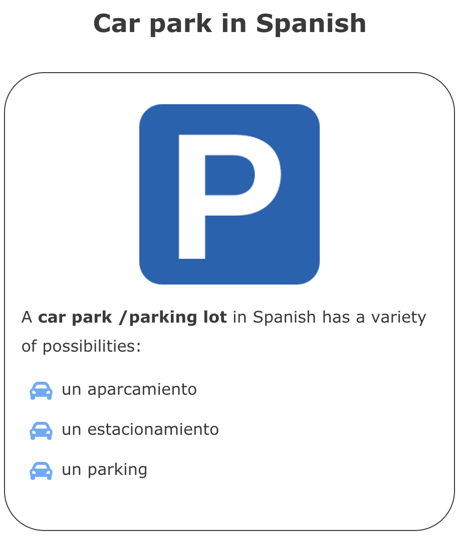 Car In Spanish How To Say Car Park In Spanish Car Ins Spanish