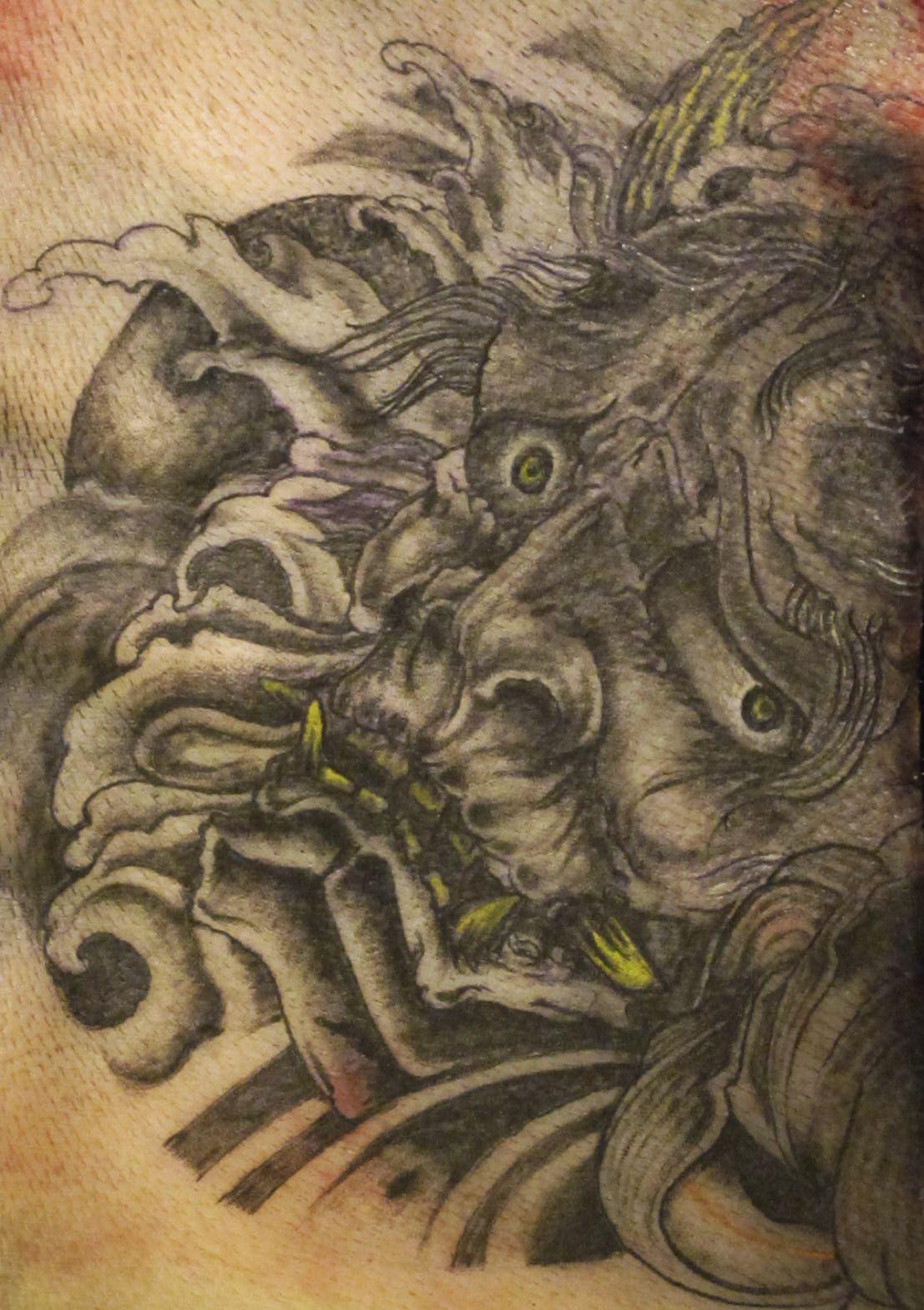 Japanese tattoo mask devil collingwood tattooist for Tattoo practice pig skin
