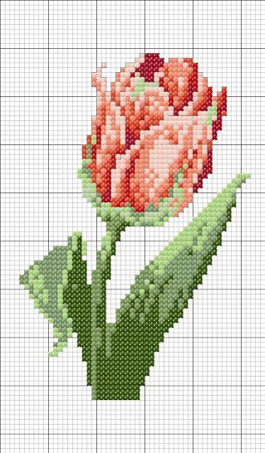 Punto croce - Schemi Gratis e Tutorial: Schema punto croce tulipani
