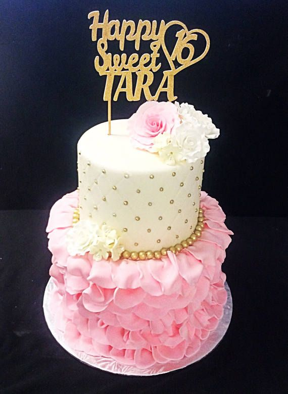This Listing Is For One Sparkly Happy Sweet 16 Custom Name Birthday Cake Topper In Your