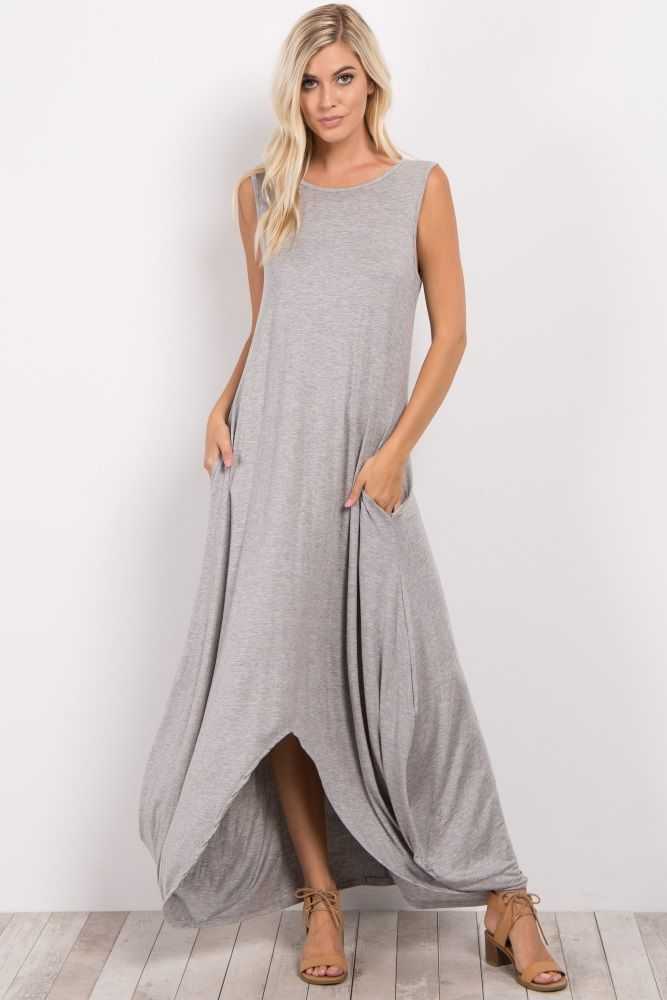 2ce61f6d5873 Heather Grey Solid Crisscross Back Hi-Low Maxi Dress | Style... in ...