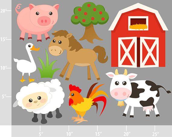 Cute Farm Animals Digital Clip Art Personal And By Printcandee Farm Animal Party Farm Animals Farm Birthday