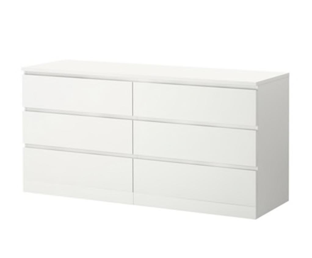 Malm 6 Drawer Dresser White Stained Oak Veneer 63x30 3 4 In
