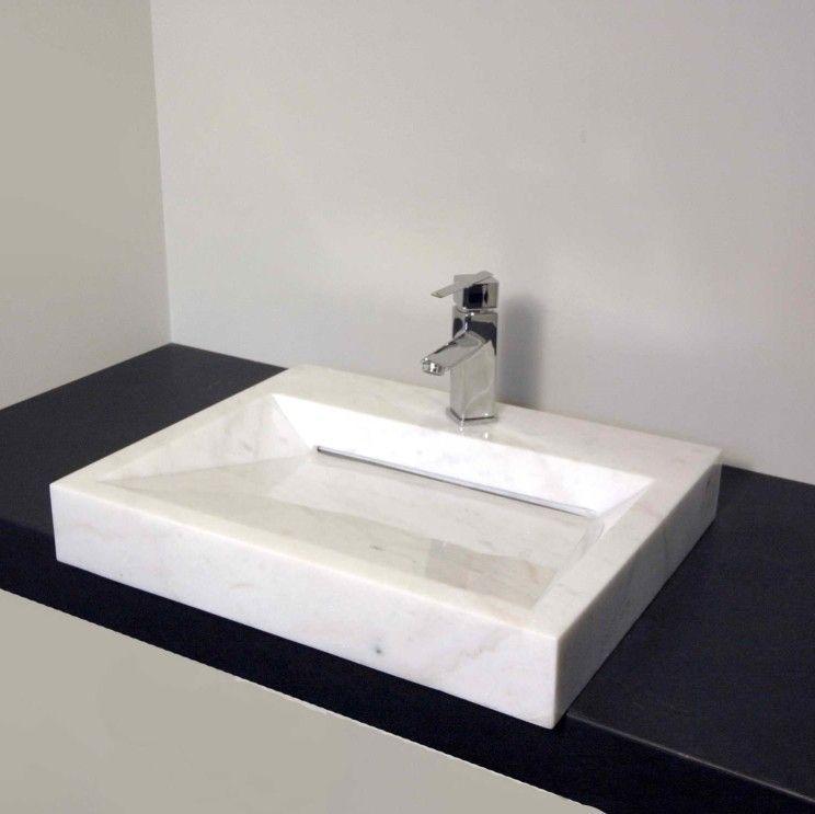 Interior Square White Marble Veneer Concrete Powder Room