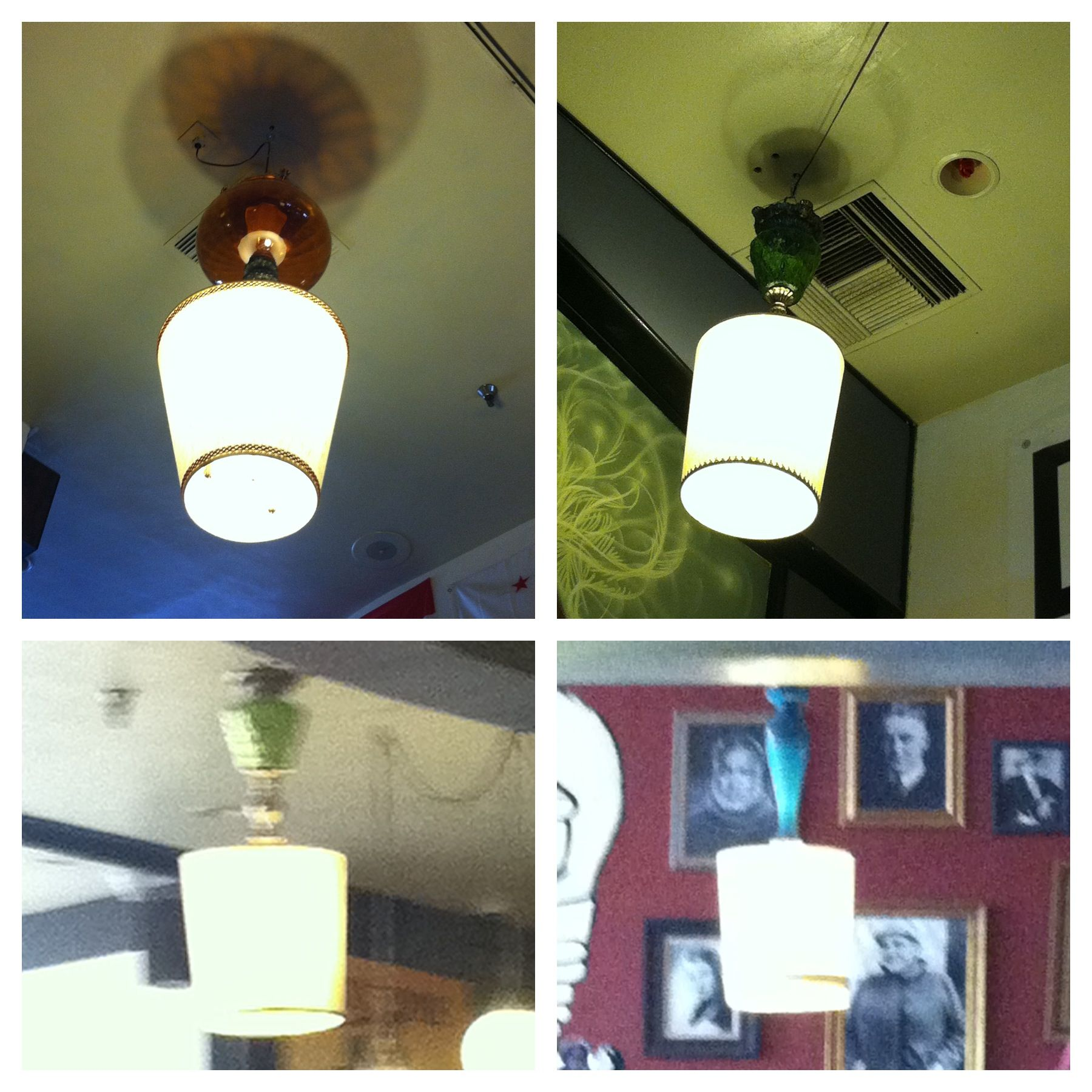 Table lamps suspended from a high ceiling. Brilliant!