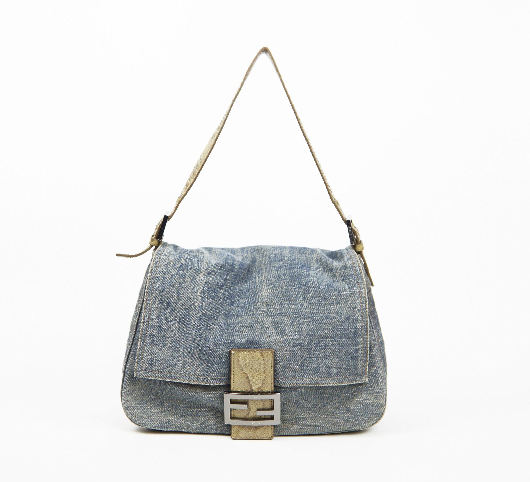 Fendi Blue And Beige Handbag