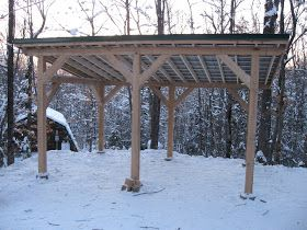 Timber Frame Post And Beam Carport Boat Storage 20 X 10 Hemlock Post And Beam Capped With Green Barnma Outdoor Storage Buildings Diy Shed Plans Carport Sheds
