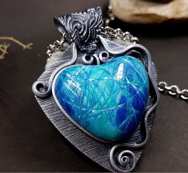 Beautiful Faux Silver Polymer Clay Pendant Tutorial ...