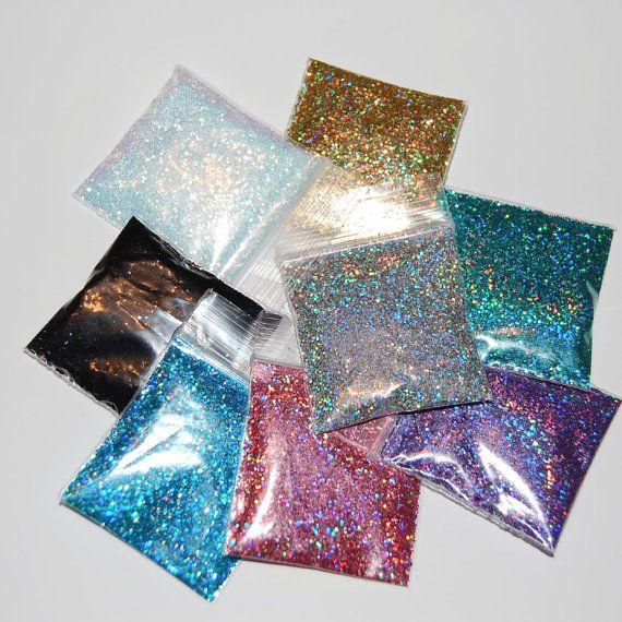 Nail Glitter, Solvent Resistant Holographic Glitter Sampler Set for Nail Polish via Etsy