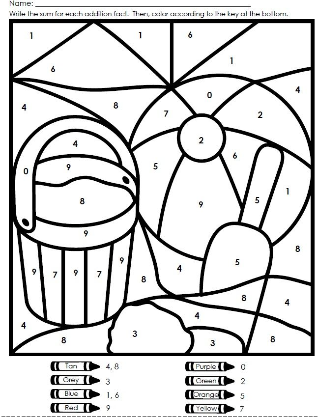 Celebrate the first day of summer with this colorbynumber beach – Color by Number Worksheets Addition