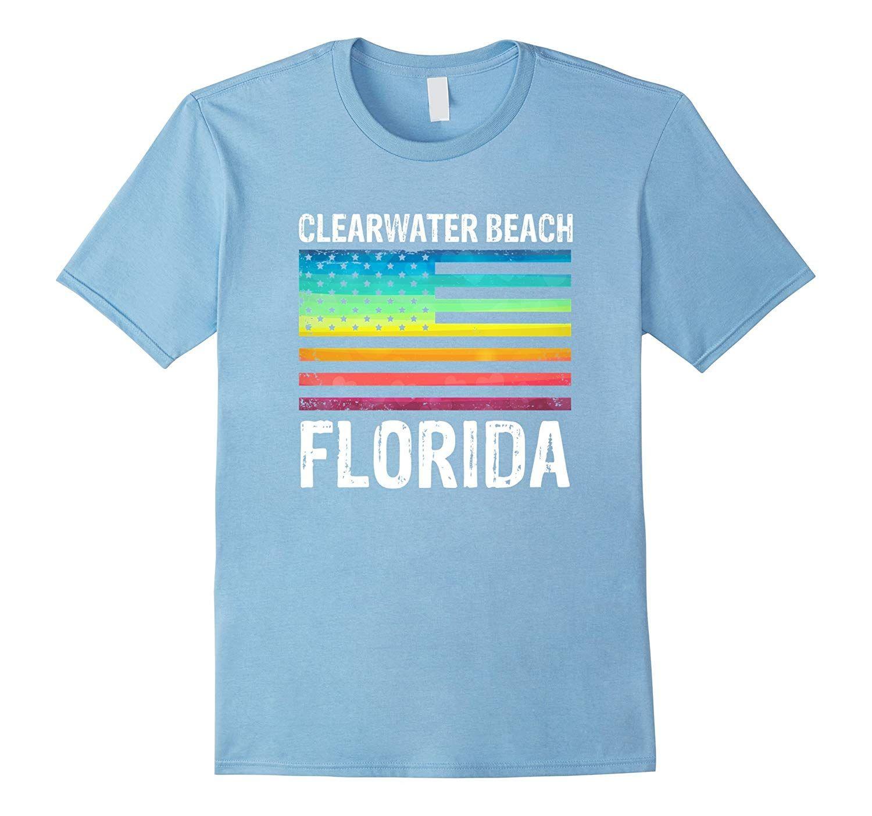 Clearwater Beach Florida Rainbow American Flag T Shirt Rainbow