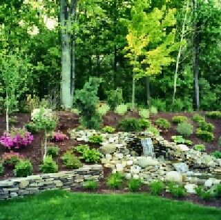 Pond Ideas With Waterfall Hill Side Pretty Landscaped Hillside Waterfall Pond Landsca Landscape Design Backyard Landscaping Designs Hillside Landscaping