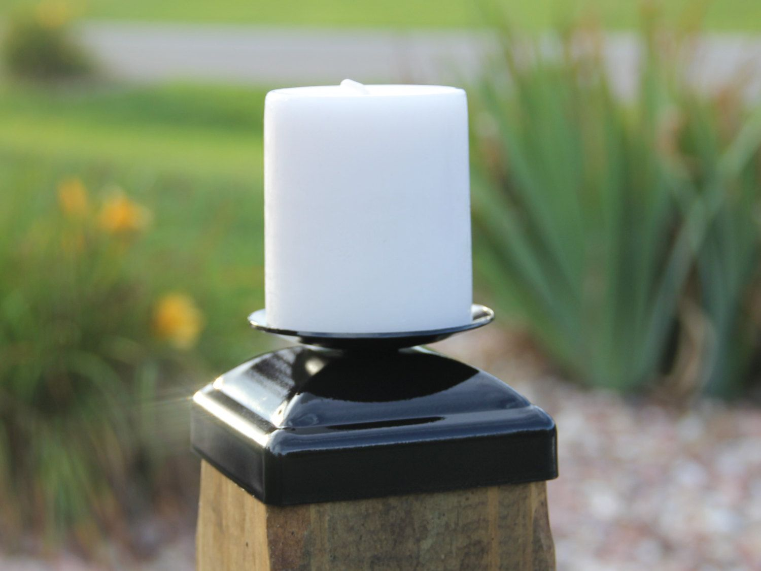 Wrought Iron Decorative Candle holder Post Cap for 4x4 Wood ...