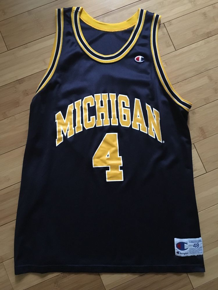 new style e2761 7aa99 Michigan Wolverines Chris Webber Champion Jersey 48 XL RARE ...