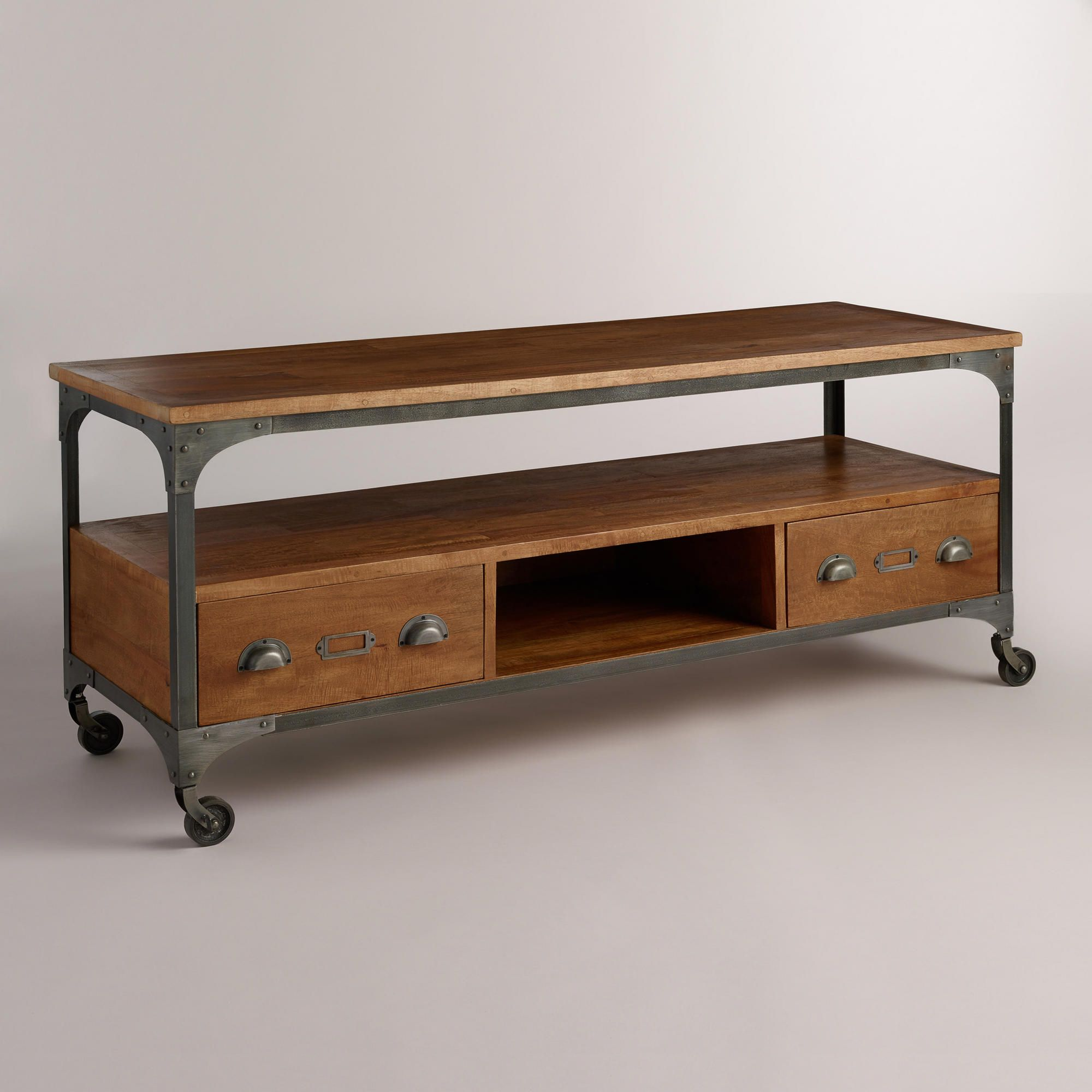 Wood And Metal Aiden Console Table: Home Decor - Aiden Media Stand