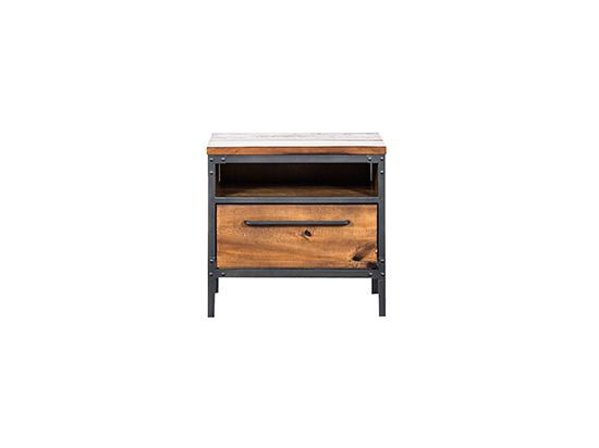 ... The Insigna Bedroom Collection Is Expertly Crafted From Solid American  Poplar With A Natural Antique Stain With Metal Legs And A Storage Drawer.