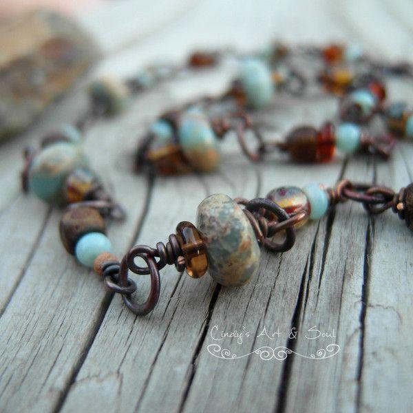 Blue Jasper wire wrapped necklace by Art & Soul Jewelry