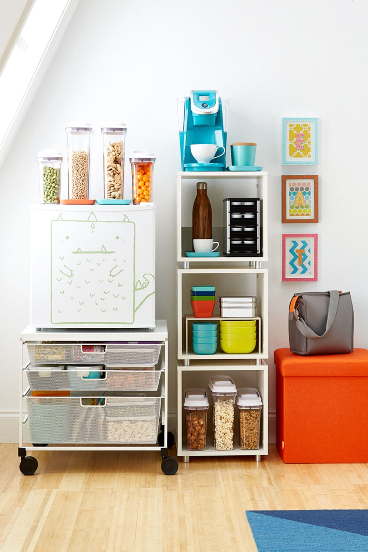 Mini Fridge Storage Cart #33 - White Elfa Mesh Compact Fridge Cart With Wire Mesh Drawers And Melamine Top  Supports Dorm Refrigerator