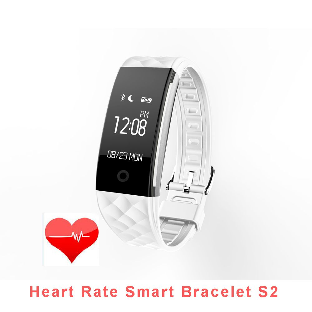 S2 Bluetooth Wristband Waterproof IP67 Heart Rate Smart Bracelet for Android IOS Phone with Call/SMS Reminder Remote Camera