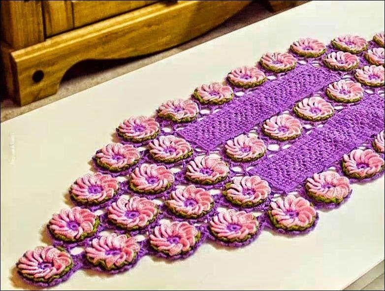 Patrones de camino de mesa con flores ganchillo   Crochet Tapetes ...