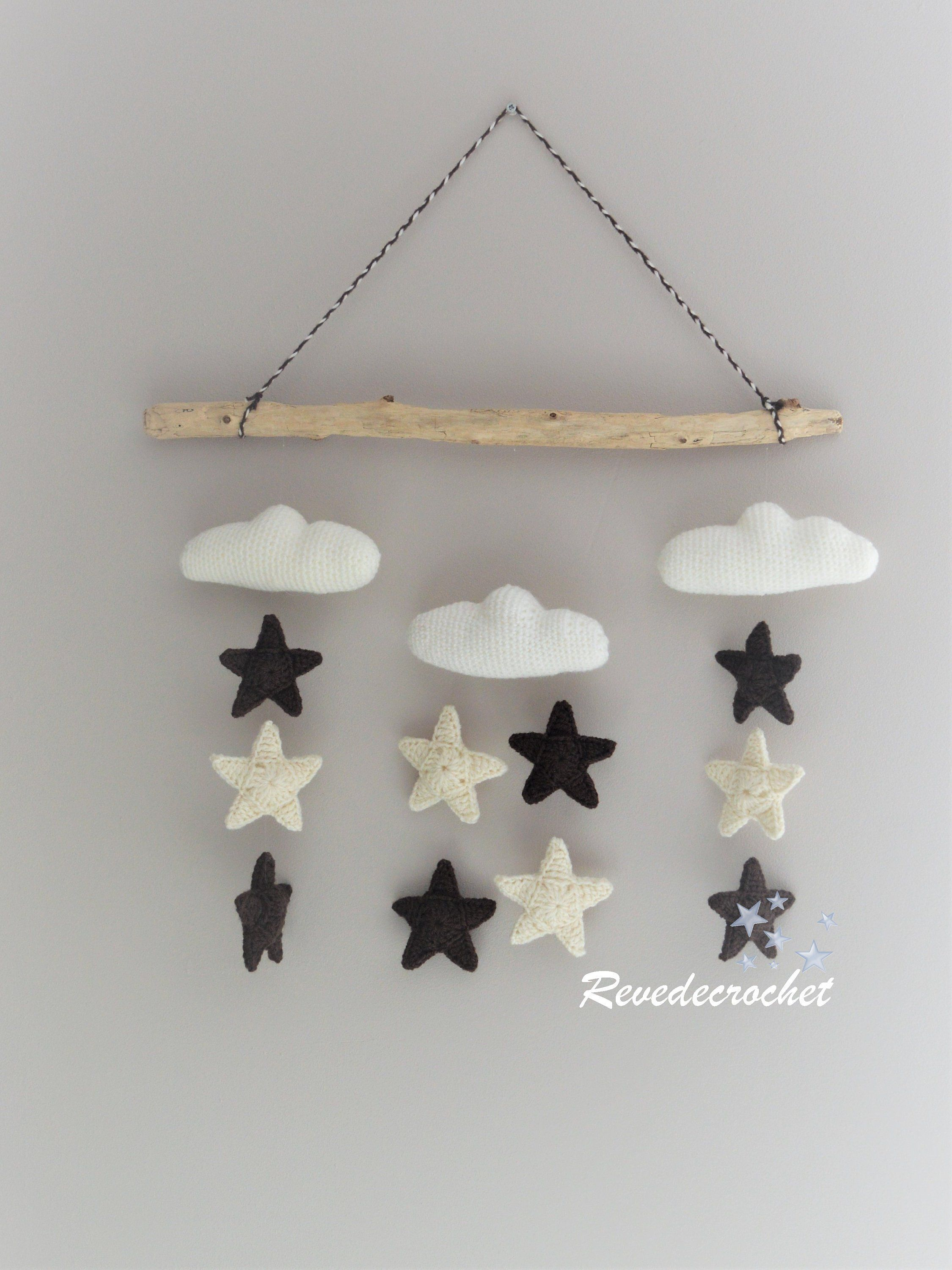 Wood Wall Decor Baby Cloud Mobile Star Mobile Mobile