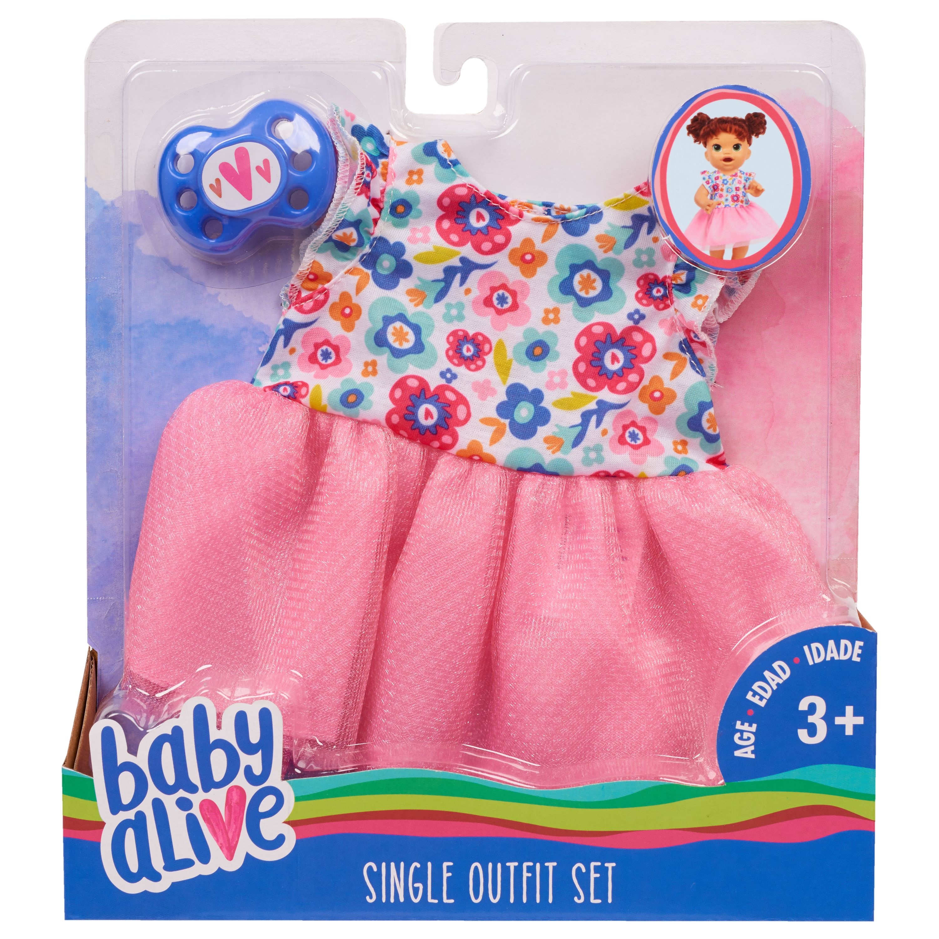 Baby Alive Single Outfit Set Floral Dress Ages 3 Walmart Com Baby Alive Doll Clothes Baby Alive Dolls Baby Alive Food
