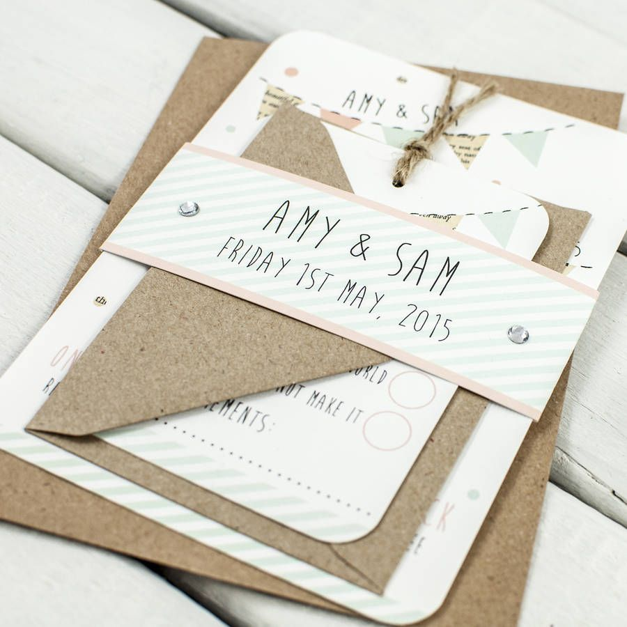Bunting And Spots Wedding Invite | Buntings, Wedding and Weddings