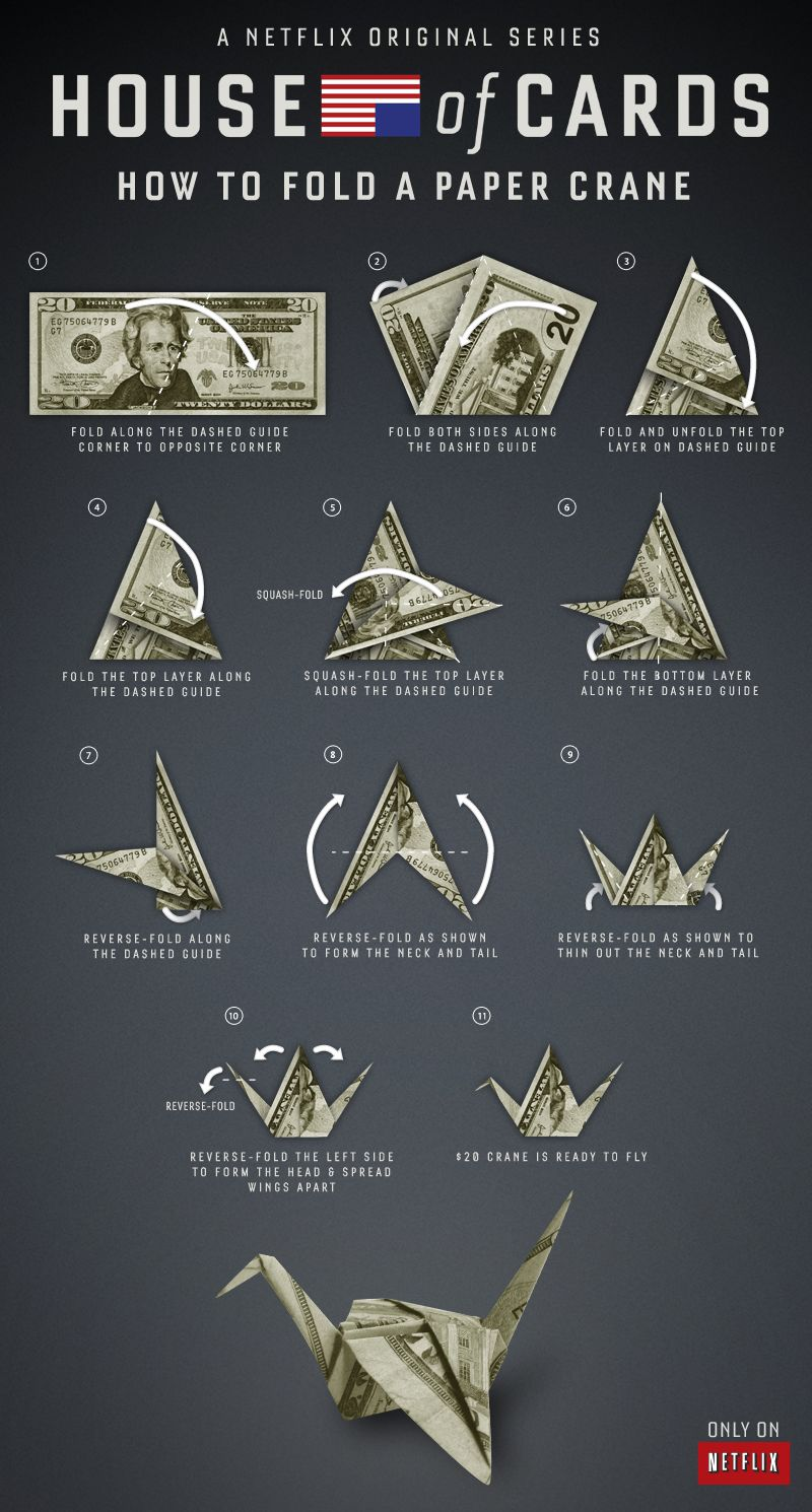 How to fold a paper crane, just like Claire Underwood ... - photo#21
